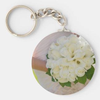 Bride With Bouquet Basic Round Button Keychain