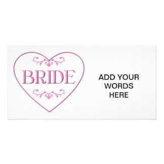 Bride (with heart and flourishes) personalized photo card