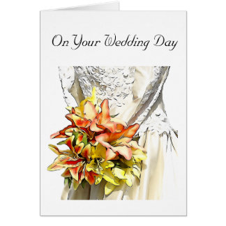 Bride with Orange Lily Bouquet Card