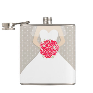 Bride with red roses hip flask