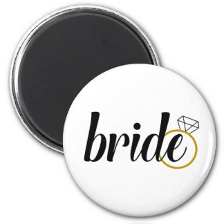 Bride with Ring 2 Inch Round Magnet