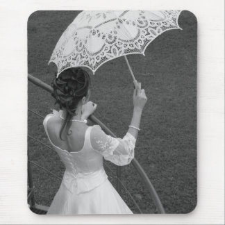 Bride with umbrella. BW. Mouse Pad