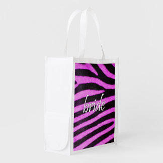 Bride Zebra Pattern 15x15 png Reusable Grocery Bags