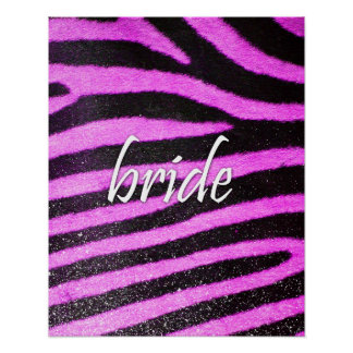 Bride Zebra Pattern Posters