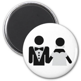 bridegroom and bride marriage icon 2 inch round magnet
