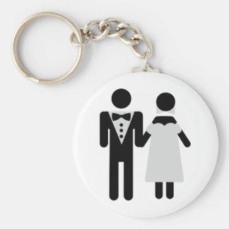 bridegroom and bride wedding icon basic round button keychain