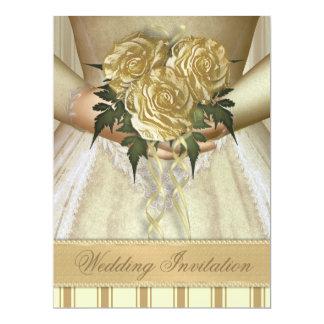 "Brides Bouquet (ivory) Wedding - Oversized 6.5"" X 8.75"" Invitation Card"
