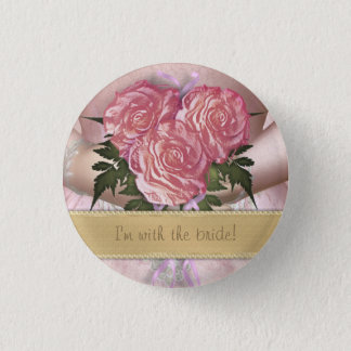 Brides Bouquet (pink) Custom Wedding 1 Inch Round Button