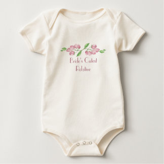 Bride's Cutest Relative Watercolor Cherry Blossom Baby Bodysuit