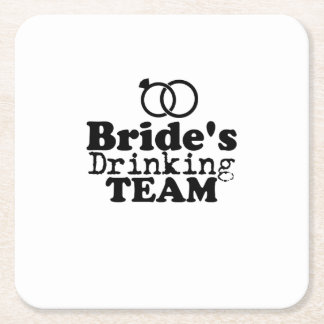 Bride's Drinking Team  Groom Fuuny Party Square Paper Coaster