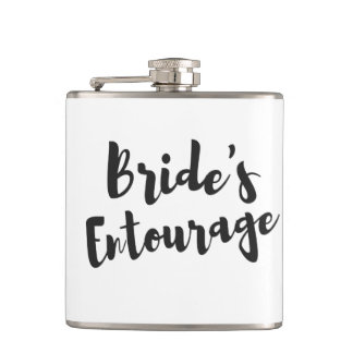 Bride's Entourage Bridal Party Wedding Vinyl Flask