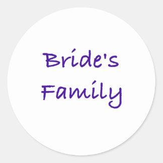 bride's family wedding gear round sticker