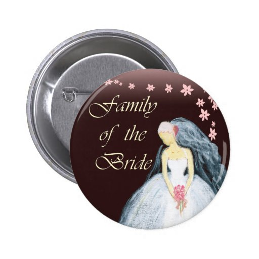 Bride's family wedding tshirts and gears pinback button