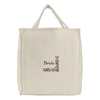 Bride's Floral Border Wedding Carry All Embroidered Tote Bags