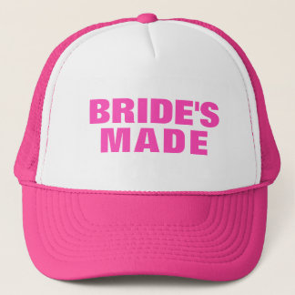 Bride's Made Pink Text Trucker Hat
