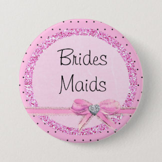 Brides Maids Pink and Black Dots Button