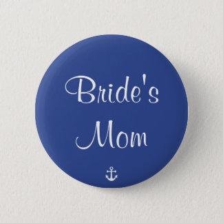 Bride's Mom Blue Nautical Wedding Buttons