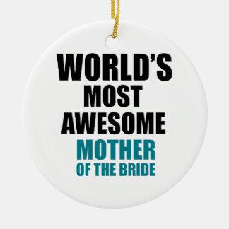 Bride's Mother Design Round Ceramic Ornament
