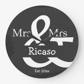 Brides Mrs And Mrs Personalized Faux Chalkboard Large Clock