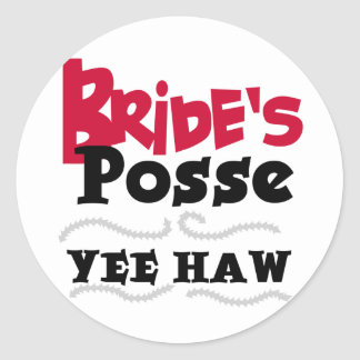 Bride's Posse Bachelorette Party Tshirts Classic Round Sticker