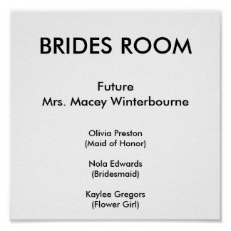 BRIDES ROOM, FutureMrs. Macey Winterbourne, Oli... Poster