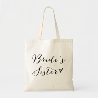 Bride's Sister | Black Modern Calligraphy Tote Bag
