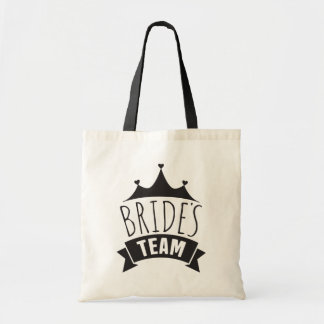 Brides Team Black Wedding Typography- Bridesmaid Tote Bag