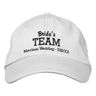 Bride's Team Custom Wedding Baseball Hat Name Date