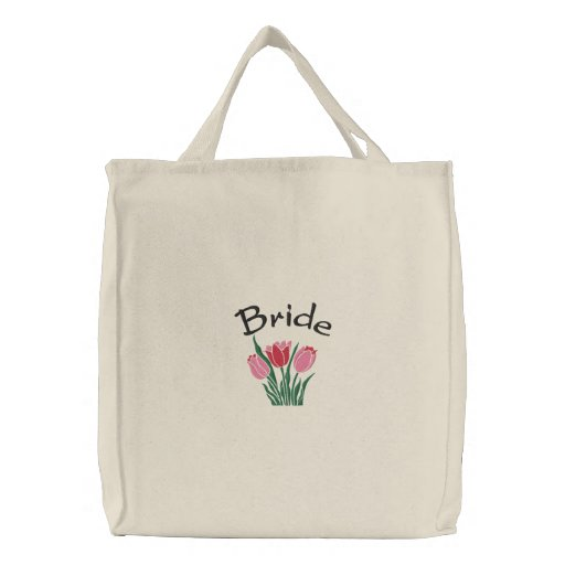 Bride's Tulips Embroidered Tote Bag
