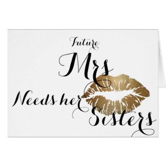 Bridesmaid ask card - gold kiss- Total template