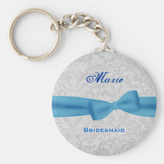 Bridesmaid Baby Blue Bow Silver Damask E012 Keychain