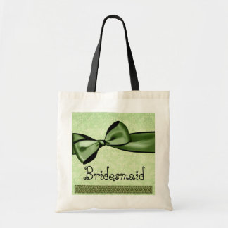 Bridesmaid Bag Green Faux Satin Bow and Lace