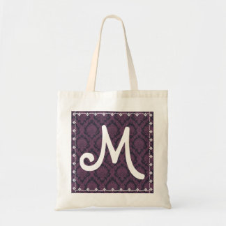 Bridesmaid Bag Monogram Purple  Damask Background