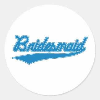Bridesmaid (Baseball Script Blue) Round Sticker