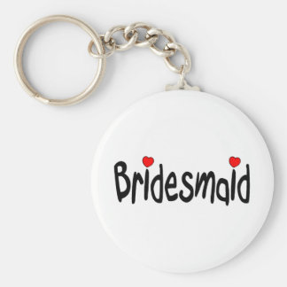 Bridesmaid Basic Round Button Keychain