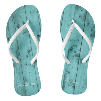 Bridesmaid Beach Wedding Teal Rustic Woodgrain Flip Flops
