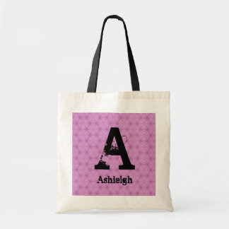 Bridesmaid Black Grunge Monogram and Pink F002 Tote Bag