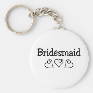 Bridesmaid Black Hearts Keychain