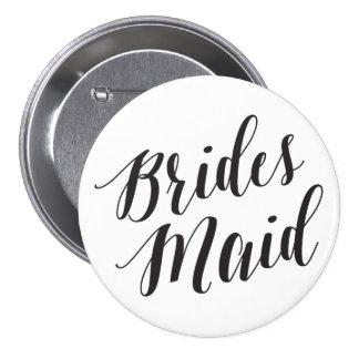 Bridesmaid Black Script Button