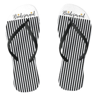 Bridesmaid black stripes gold flower flip flops
