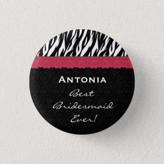 Bridesmaid Black White Red Zebra V7 1 Inch Round Button