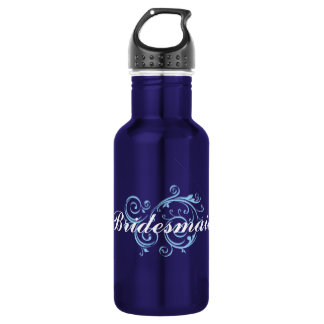 Bridesmaid, Blue Scroll 532 Ml Water Bottle