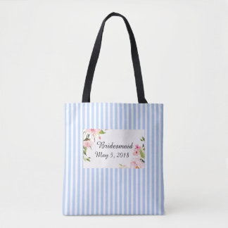 Bridesmaid blue white stripe bag with wedding date