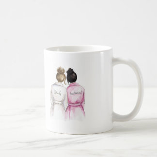 Bridesmaid? Brunette Bun Bride Black Bun Maid Basic White Mug