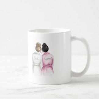 Bridesmaid? Brunette Bun Bride Black Bun Maid Classic White Coffee Mug
