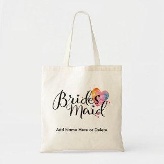 Bridesmaid Budget Tote Watercolor Heart Bag