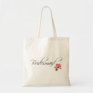 Bridesmaid Calligraphy and Rose Tote Bag