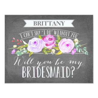 "Bridesmaid Card | Bridesmaid 4.25"" X 5.5"" Invitation Card"