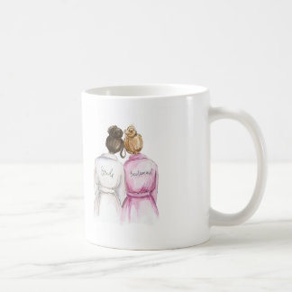 Bridesmaid? Dark Br Bun Bride Dark Bl Bun Maid Basic White Mug