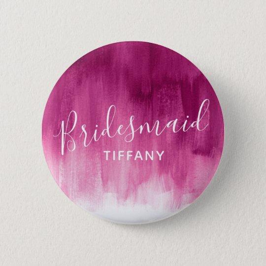 Bridesmaid dark pink abstract art wedding pin